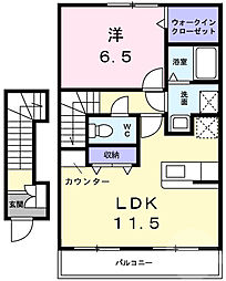 OMA永井 2階1LDKの間取り