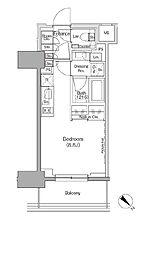都営大江戸線 月島駅 徒歩1分の賃貸マンション 2階ワンルームの間取り