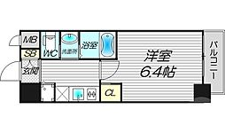 フレアコート梅田 5階1Kの間取り