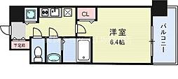 アドバンス新大阪ウエストゲートII 2階1Kの間取り