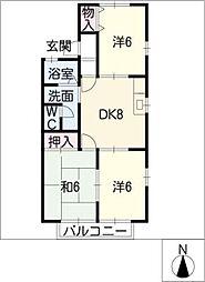 セジュール稲西[2階]の間取り