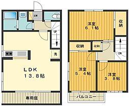 [テラスハウス] 東京都日野市三沢5丁目 の賃貸【/】の間取り