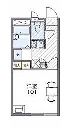 JR赤穂線 西大寺駅 徒歩9分の賃貸アパート 1階1Kの間取り