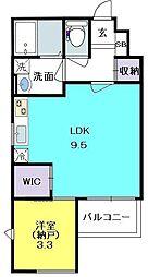 エクセレント夙川 2階1LDKの間取り