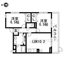 エリシオン・レジデンスIII 3階2LDKの間取り