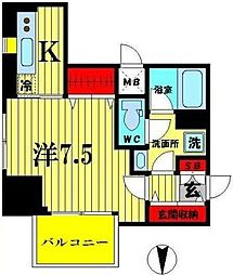 JR総武線 亀戸駅 徒歩10分の賃貸マンション 10階1Kの間取り