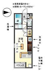 愛知県津島市中地町1丁目の賃貸アパートの間取り