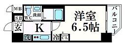 阪急神戸本線 春日野道駅 徒歩5分の賃貸マンション 6階1Kの間取り