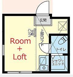 相鉄本線 上星川駅 徒歩8分の賃貸アパート 2階ワンルームの間取り