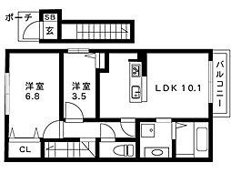 阪急神戸線 御影駅 2階建[202号室]の間取り