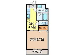 静岡県富士市元町の賃貸マンションの間取り
