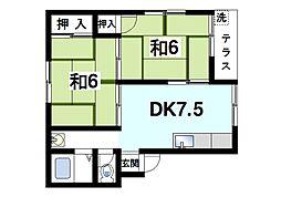 松本マンション 1階2DKの間取り