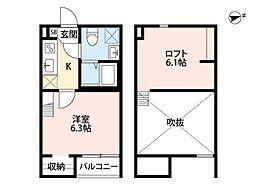 Osaka Metro谷町線 長原駅 徒歩11分の賃貸アパート 1階1Kの間取り