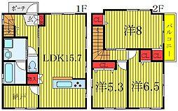 セリシール堀船B 1階3SLDKの間取り
