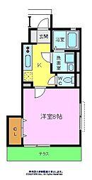 南海高野線 金剛駅 徒歩12分の賃貸アパート 1階1Kの間取り
