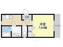 メゾン・ド・コリーヌ上野芝 1階1Kの間取り