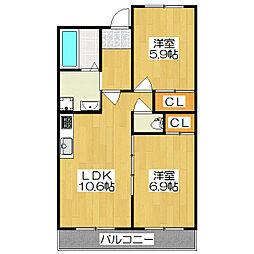 サングリーンハウス[312号室]の間取り