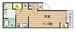 下小阪新築共同住宅 1階ワンルームの間取り