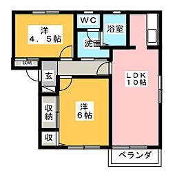 アベニュー A棟[1階]の間取り
