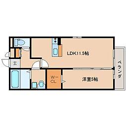 奈良県奈良市西九条町の賃貸アパートの間取り