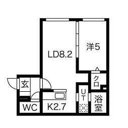パインハート中の島 3階1LDKの間取り