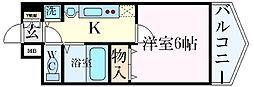 名古屋市営東山線 千種駅 徒歩8分の賃貸マンション 9階1Kの間取り