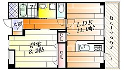 セレノアロッジオ江坂西 1階1LDKの間取り