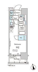 JR京葉線 越中島駅 徒歩14分の賃貸マンション 2階ワンルームの間取り