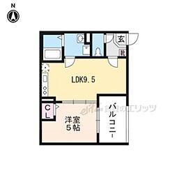 近鉄京都線 伏見駅 徒歩7分の賃貸アパート 1階1DKの間取り