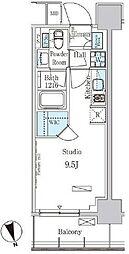 東京メトロ有楽町線 新富町駅 徒歩3分の賃貸マンション 4階ワンルームの間取り