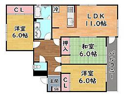 阪急神戸本線 六甲駅 徒歩10分の賃貸マンション 2階3LDKの間取り