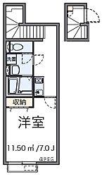 西武池袋線 東久留米駅 徒歩10分の賃貸アパート 2階1Kの間取り