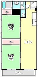 兵庫県西宮市甲陽園西山町の賃貸マンションの間取り