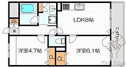 シティエール東梅田II[4階]の間取り