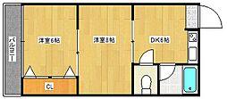 マンション若竹[3階]の間取り