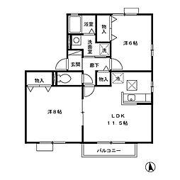 ウィンドワードB[2階]の間取り
