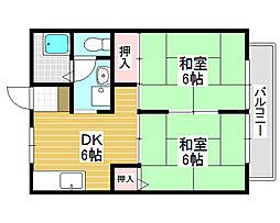 下川ハイツ[1階]の間取り