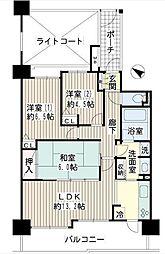 神奈川県横浜市保土ケ谷区西久保町の賃貸マンションの間取り