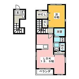 プリモ・アモーレ B[2階]の間取り