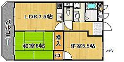 サンライズ住之江公園[3階]の間取り