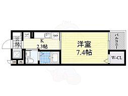 京阪本線 大和田駅 徒歩2分の賃貸マンション 3階1Kの間取り