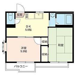 グリ−ンセフィラB[2階]の間取り