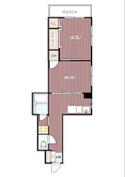 ハイネスYM 幡ヶ谷駅7分 壁一面の大型収納 角部屋で陽当り[3階]の間取り