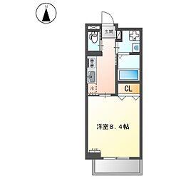 堺市堺区中三国ヶ丘町賃貸マンション新築工事 3階1Kの間取り