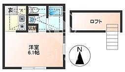 東京都調布市下石原1丁目の賃貸アパートの間取り