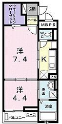 埼玉県朝霞市宮戸4丁目の賃貸アパートの間取り