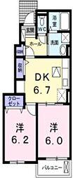JR宇野線 八浜駅 4kmの賃貸アパート 1階2DKの間取り