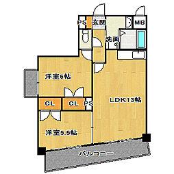 千葉県船橋市夏見6丁目の賃貸マンションの間取り