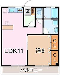 静岡県三島市幸原町の賃貸アパートの間取り