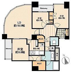 東京メトロ東西線 早稲田駅 徒歩9分の賃貸マンション 27階3LDKの間取り